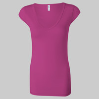 Ladies' Sheer Mini Rib Cap Sleeve V-Neck T-Shirt