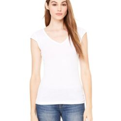 Ladies' Sheer Mini Rib Cap Sleeve V-Neck T-Shirt Thumbnail