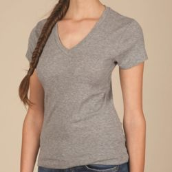 Ladies' 1x1 Baby Rib V-Neck T-Shirt Thumbnail
