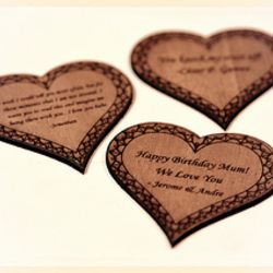 Laser Engraved Wooden Heart Thumbnail